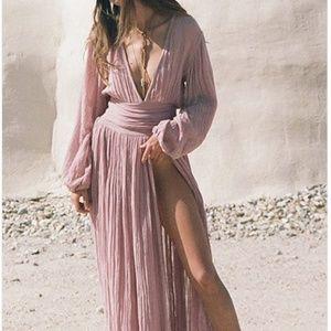 Pink Cotton Plunge Split Front Puff Sleeve Women
